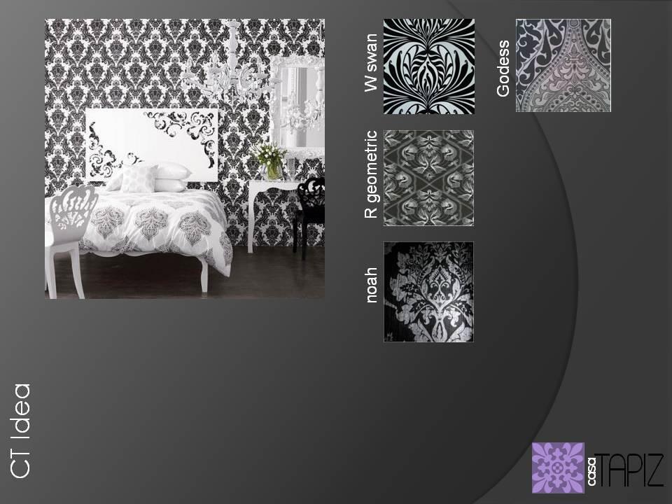 Papel tapiz modelos White Swan, R Geometric, Noah y Godess