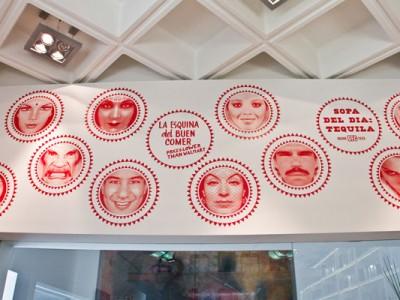 Mural con celebridades en la tienda del Museo Rufino Tamayo